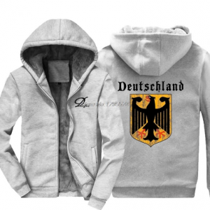 gray color Deutschland Flag Crest Germany Eagle Socceres Footballer Hoodie Men