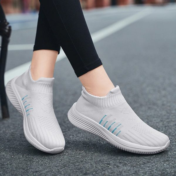 Fashion Women Slip-on Comfort Breathable Gray color running Shoes For Woman