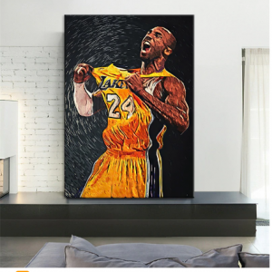 Hand Painted Hotsell Wall Art Kobe Bryant Basketball Star Portrait Painting Canvas