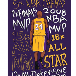 Memory of Kobe Bryant Portrait Basketball Super Star Decorative Poster Wall Canvas