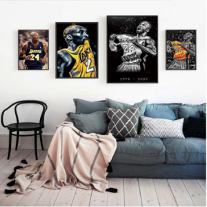 Poster Prints Oil Painting the legend Kobe Bryant Dunks Wall Art Basketball Star Prints