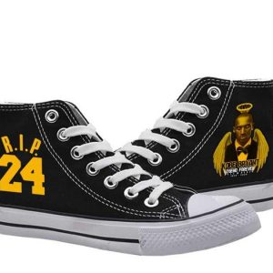 Black Mamba Rip Kobe Bryant High Top Black Color Canvas Shoes