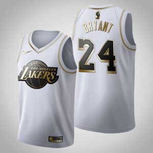obe Bryant #24 Golden Edition White Jersey