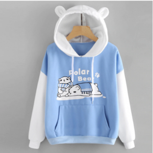 Sky blue color sweatshirt hoodies Women 2020 Patchwork cat ear Long Sleeve