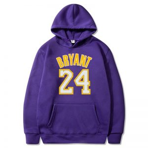 Kobe Bryant 24 Purple Hoodie With yellow fonts