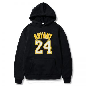 Kobe Bryant 24 Black Hoodie With yellow fonts