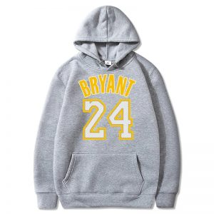 Kobe Bryant 24 Gray Hoodie With yellow Fonts