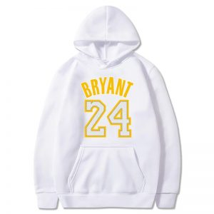 Kobe Bryant 24 White Hoodie with yellow Characters